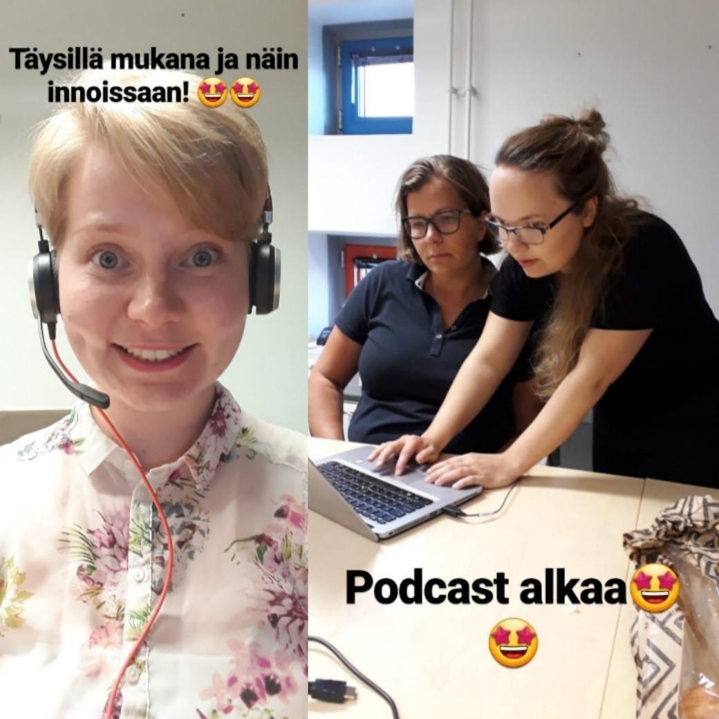 Muistoja Instagram -storysta podcastin alkuvaiheilta ja valmistelusta. Podcastin pitäminen oli innostavaa, sillä sen avulla pääsi askelen lähemmäs ja syvemmälle nuorten kokemusmaailmaa työllistymiseen liittyvistä asioista. Vasemmalla on DuuniPolku -hankkeen valmentaja ja suunnittelija Annina Kipponen. Oikealla valmisteluita tekevät DuuniPolku -hankkeen valmentaja ja suunnittelija Lilli Tolvila sekä Tampereen kaupungin työllisyyspalveluiden verkostokoordinaattori Sanni Vihersaari.