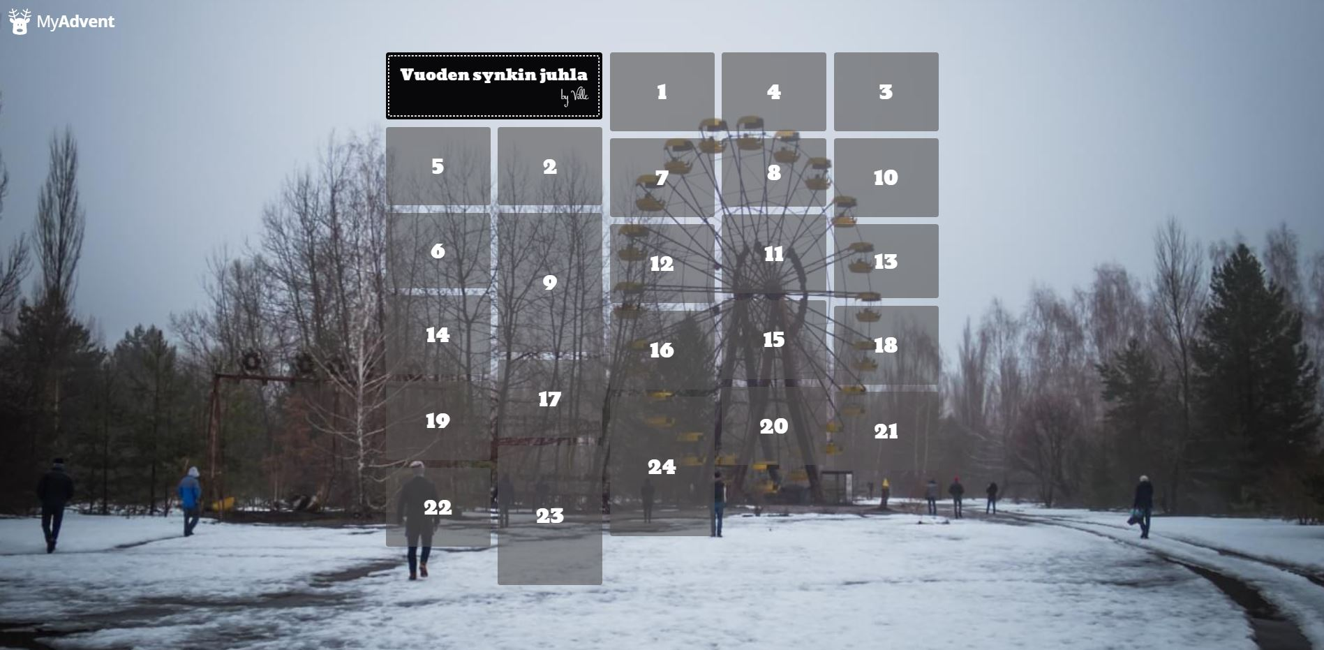 Joulukalenteri. Kuvassa Pripjatin huvipuisto