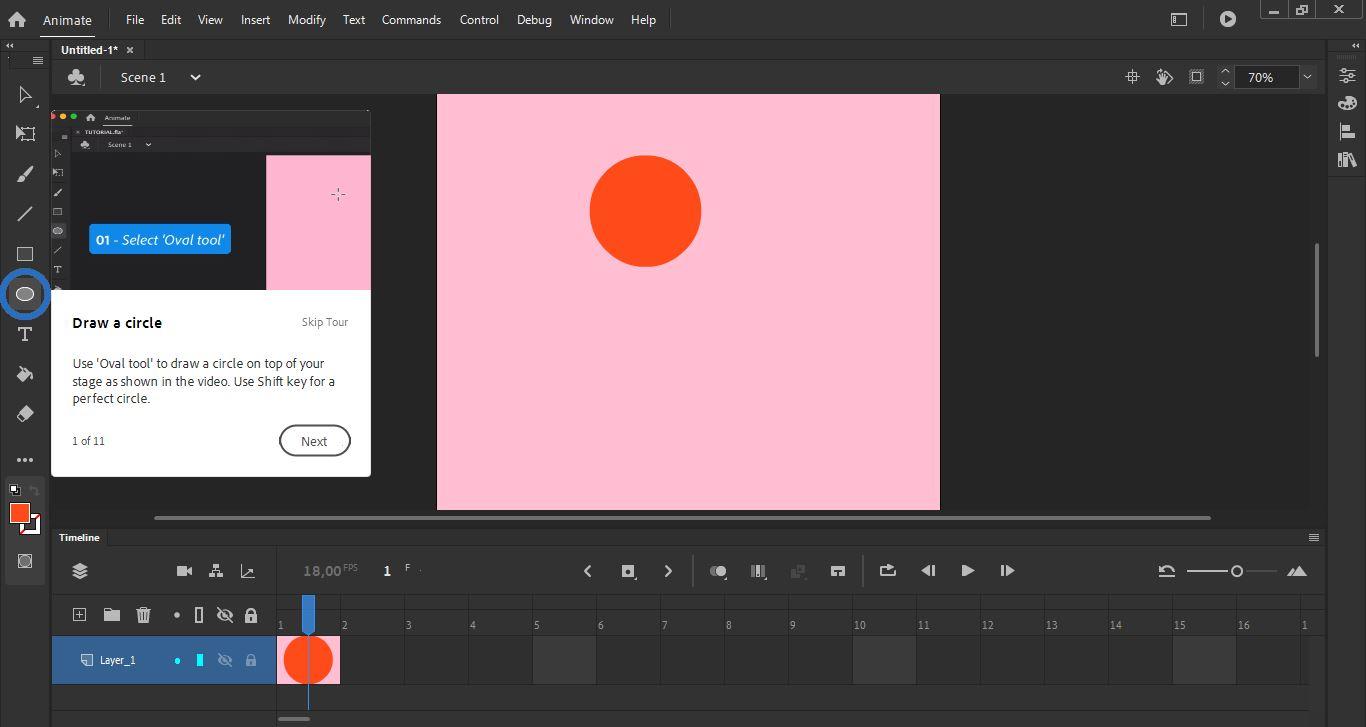 Kuvankaappaus Adobe Animate -ohjelmasta.