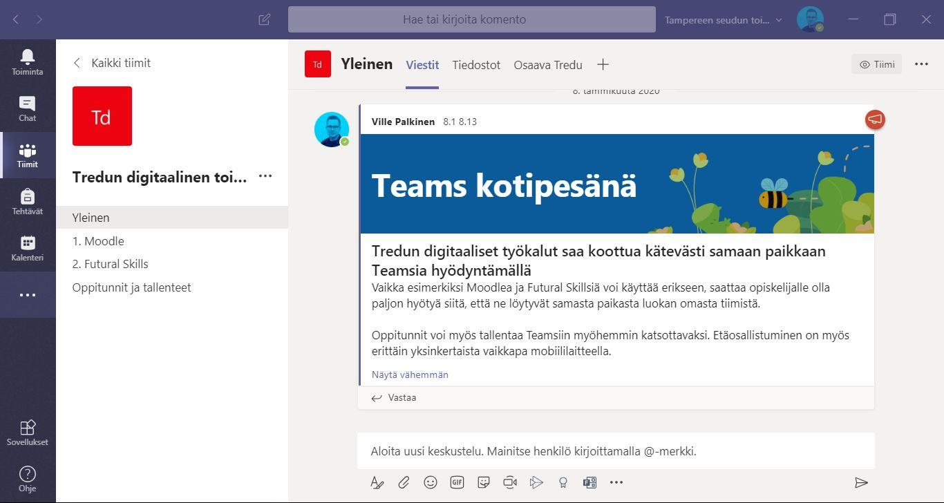 Kuvakaappaus Teamsista, jossa esitellään Tredun digitaalista toimintaympäristöä.
